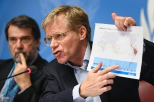World Health Organization (WHO) Executive Director of the Outbreak and Health Emergencies Cluster Bruce Aylward (R) holds a map showing countries and territories with Zika virus spread, flanked by Director of WHO's Global Malaria Programme Pedro Alonso, during a press briefing in Geneva on February 19, 2016. The disease, carried by the Aedes aegypti mosquito, has spread to 34 countries, most of them in the Americas and the Caribbean. / AFP / FABRICE COFFRINI